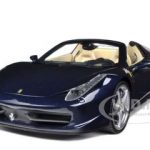 2012 2013 Ferrari Italia 458 Spider Dark Blue Metallic 1/18 Diecast Model Car by Hotwheels