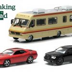 Breaking Bad 3pc Set 1986 Fleetwood Bounder RV 2012 Chrysler 300C Black and 2012 Dodge Challenger SRT-8 Red 1/64 Diecast Model Cars by Greenlight