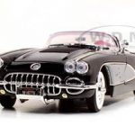 1958 Chevrolet Corvette Convertible Black 1/18 Diecast Model Car by Motormax