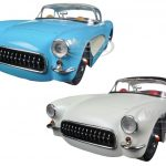 1957 Chevrolet Corvette Blue & Cream Set of 2 Cars 1/24 Diecast Model Cars by Jada