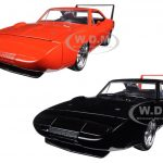 1969 Dodge Charger Daytona Black & Orange Set of 2 Cars 1/24 Diecast Model Cars by Jada