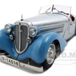 1935 Audi 225 Front Roadster 1 of 4000 Produced Silver/Blue 1/18 Diecast Model Car by CMC