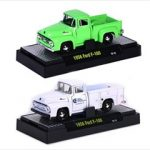 Auto Trucks 1956 Ford F-100  Green & White 2 Cars Set Release 21C WITH CASES 1/64 Diecast Model Cars by M2 Machines