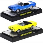 Detroit Muscle 1968 Ford Shelby Mustang GT500KR Blue & Yellow 2 Cars Set WITH CASES 1/64 Diecast Model Cars by M2 Machines