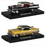 Drivers 1957 Chevrolet Bel Air Black & Gold 2 Cars Set Release 18 A WITH CASES 1/64 Diecast Model Cars by M2 Machines