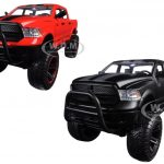 2014 Dodge Ram 1500 Pickup Truck Off Road Just Trucks Red and Matt Black Set of 2 Trucks 1/24 Diecast Models by Jada