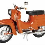 Simson KR 51/1 Schwalbe Orange Motorcycle Model 1/10 Scale Diecast Model by Schuco