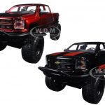 2014 Chevrolet Silverado Off Road Black/Red & Red/Black 2 Pickup Trucks Set 1/24 Diecast Models by Jada