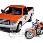 2010 Ford F-150 STX Harley Davidson Orange/White 1/27 and 1/24 1958 FLH Duo Glide Motorcycle by Maisto